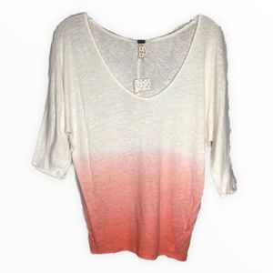 Free People Ombre Strawberry Shirt Ivory Pink V-Neck Knit Top